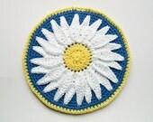 Daisy Pot Holder Potholder White Blue Yellow Crochet Flower Hot Pad Trivet Cotton READY TO SHIP Cottage Chic Vintage Style Housewarming Gift