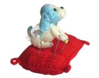 Blue Puppy Dog Pincushion Pdf Email Knit PATTERN