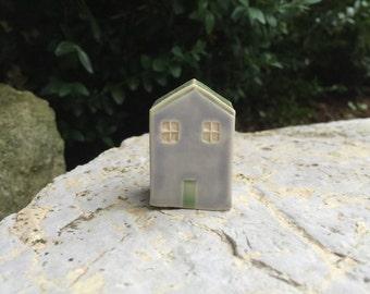 Little Blue Clay House / Terrarium Decoration / Tiny Whimsical Home