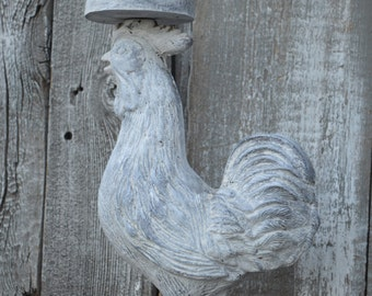 cast iron ROOSTER CANDLE HOLDER shabby chic country chicfrench country english country