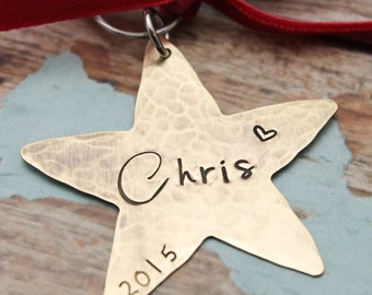 Christmas Star Ornament Personalized Hand Stamped in Brass