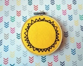 "Hello Sunshine! - 4"" Hand Embroidered Hoop Art - Sun on Warm Yellow Felt"