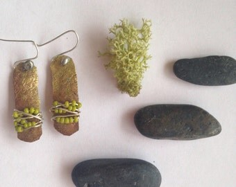 Boho Hanging Earrings Handmade Green Earrings Beaded Wire Earrings Black Earrings