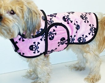 Pink Skull Minky Dog Coat  20 dollars to 50 dollars depending on the size by Doodlebug Duds