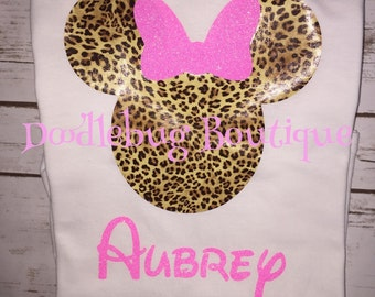 Minnie Mouse leopard print Animal kingdom shirt with name