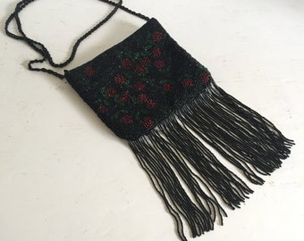 Vintage 1980s Black Beaded Fringe Purse With Red and Green Beaded Flowers