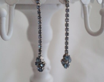 vintage earrings, rhinestone earrings, dangle earrings, pale blue rhinestones, diamante earrings, long rhinestone earrings, diamante jewelry