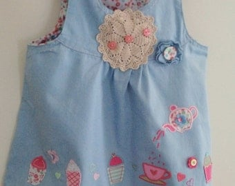 baby girls dress, blue baby dress, handmade baby dress, hand embellished, applique baby, embroidered baby, age 6 - 12 months, baby girls