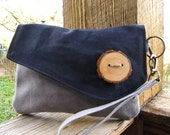 Rustic Waxed Canvas Clutch Navy &Gray/ Water Repellent/ looks better with age/ interior pocket/ Large zipper pocket on back