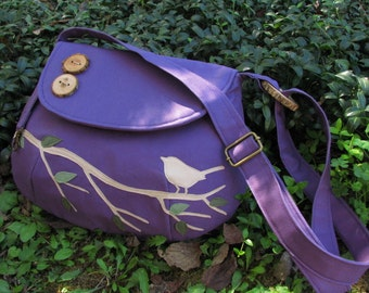 Canvas Tote, Purple Singing Bird on a Branch Shoulder Bag, Vegan Purse, Bird Messenger, Applique Tote