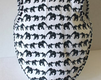 6 To 18 Months Bapron Baby Girl or Boy  Gender Neutral Bib Soft Backing Pastels Baby Gift Navy Elephants