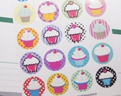 Stickers Seals Envelopes Cupcake Stickers Planner Stickers Erin Condren ECLP Birthday Stickers Reminder Stickers SES63