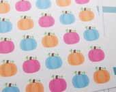 Planner Stickers 30 Pumpkins Pink Blue Orange October November Holiday Fall Autumn Thanksgiving eclp fits Erin Condren PS205