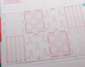 Full Box Breast Cancer Awareness Stickers Planner Stickers Horizontal or Vertical  PS219 Fits Erin Condren