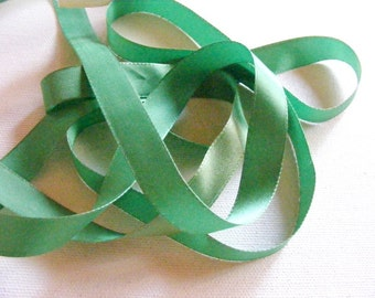 Vintage 1940's French Satin Ribbon 1/2 inch -Milliners Stock- Gorgeous Kelly Green