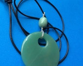 FREE SHIPPING Large Jade Green Stone Pendant Wrapped with Sterling Wire on Leather Rope