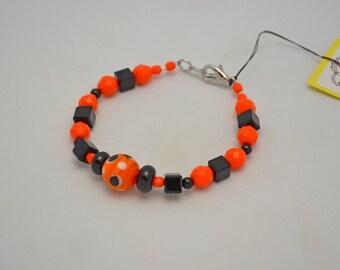 Halloween Bracelet SALE Handcrafted Orange - Black Czech Glass Beaded Fall Holiday Bracelet w/ Lampwork Focal Bead.  Festive Teacher Gift.