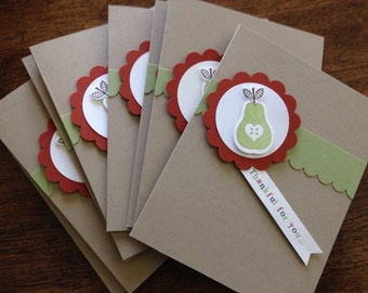 Fall notecard set, stationery gift set, pear notecards, thank you cards - set of 10