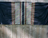 Vintage Mid Century Mexican Embroidered Eyes Table Runner Rustic Folk SALE