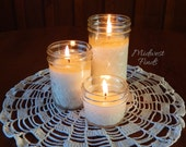 Set of Three Quilted Mason Jar Soy Candles