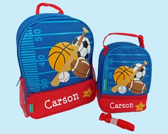 Personalized Stephen Joseph SPORTS Themed Sidekick Backpack and Lunch Pal Lunchbox