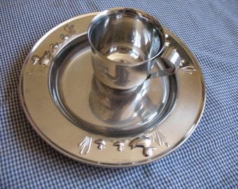 Child's Cup and Plate - Stainless Steel - with Ducks