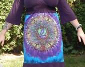 The Wheel Grateful Dead Purple Dress M Bell Sleeves Festival Hippie Tie Dye Patchwork Fall