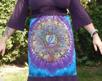 SALE The Wheel Grateful Dead Purple Dress M Bell Sleeves Festival Hippie Tie Dye Patchwork Fall