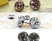 3 Pair Set Glitter Stud Earrings - Choose All 8mm, 10mm or 12mm Faux Druzies - Rose Bronze, Metallic Silver, and Dark Silver, Titanium Posts