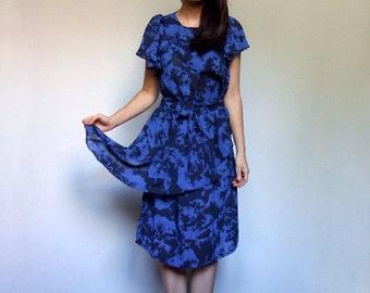 80s Blue Dress Peplum Semi Sheer Abstract Print Short Sleeve Vintage Day Dress - Medium M