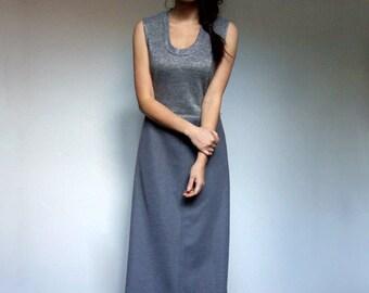 70s Metallic Maxi Dress Grey Long Vintage Scoop Neck Simple Sleeveless Dress - Small S
