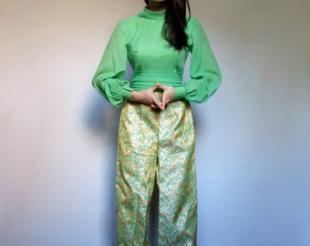60s Jumpsuit Womens Vintage 2pc Set Metallic Gold Green Long Sleeve One Piece Tapestry 1960s Psychedelic Outfit - Extra Small to Small XS S