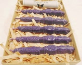Natural Sealing Wax 5 sticks PURPLE color with wick. Traditional mold - for stamps, seals, non toxic, plastic-free, gift-wrapped