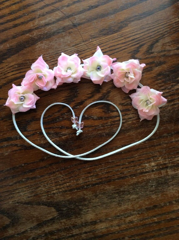 Pale Pink Silk Flower Headband with Rhinestone in the center of each flower - Flower Crown -Halo