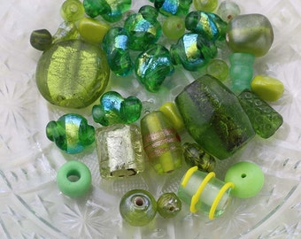 Olive and Green Bead Soup, Mixed Lot of Loose Beads, Olive Bead Destash, Craft Gift, 39g Glass Beads, Destash Beads, Sage Green Bead Mix #24