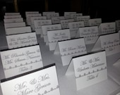 Gray and White Damask Place Card.Silver, Birthday party.Wedding Escort Card, Stationery, damask, Sweet 16 place card. Seating