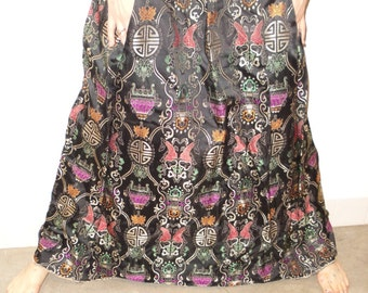 long black fish brocade 2-pocket skirt