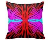 Modern Red, Pink, Black and Aqua Graphic Designer Throw Pillow w/ Insert