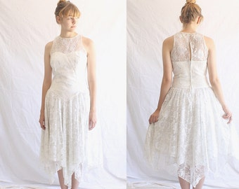 vintage 80s white lace dress made in USA