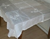 Vintage 1930s Sheer White Cotton Lawn Square Tablecloth Embroidered Floral Really Lovely 4' by 4'