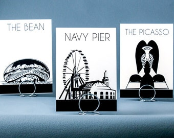 Chicago Wedding Table Number Cards with Landmark Silhouettes