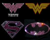 Choice of Girl Superhero iron on rhinestone transfer applique super hero patch