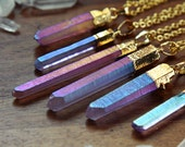 Mystic Purple Angel Aura Quartz Gold Dipped Necklace - Rough Clear Raw Point Rainbow Pastel Crystal Pink Blue Plated Chain, Natural Layering