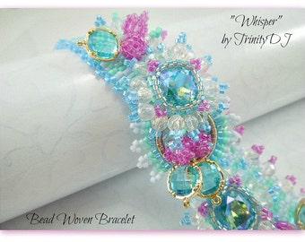 BR-091-2016-135- Whisper - Crystal bracelet, bead woven bracelet, beaded cuff, embellished bracelet, beadweaving