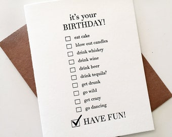 Letterpress Birthday Card - Bday Choices
