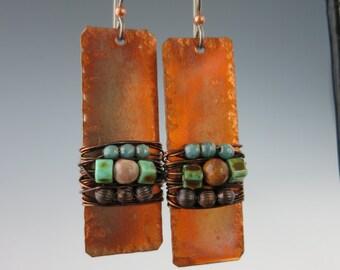 Boho Copper Earrings, Bead Wirewrap Planks, Drop Earrings, Handcrafted Jewelry,  Dangle Earrings