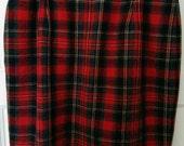 red plaid tartan skirt buffalo plaid size 12 punk bondage schoolgirl uniform
