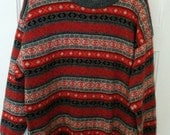 Nico ski sweater medium men boho fair isle knit pattern wool knit