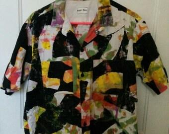 Rusty Metal print batik shirt tiki punk splotch xl punk rock 1980s men