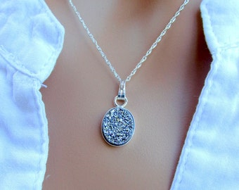 Silver druzy  pendant necklace gemstone jewelry sterling silver elegant jewelry sparkly necklace anniversary gift birthday gift fwb